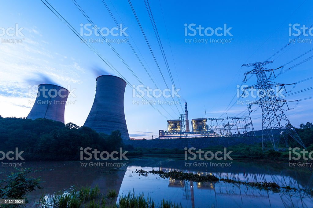Thermal Power Plant in the Morning stock photo