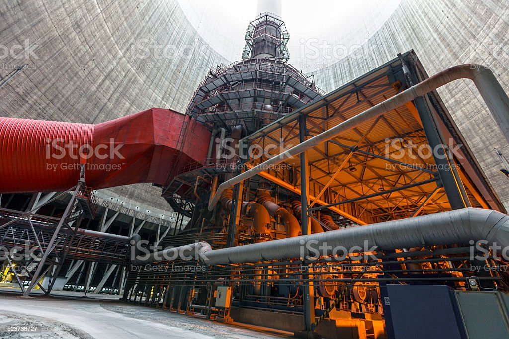 Thermal power plant interior stock photo