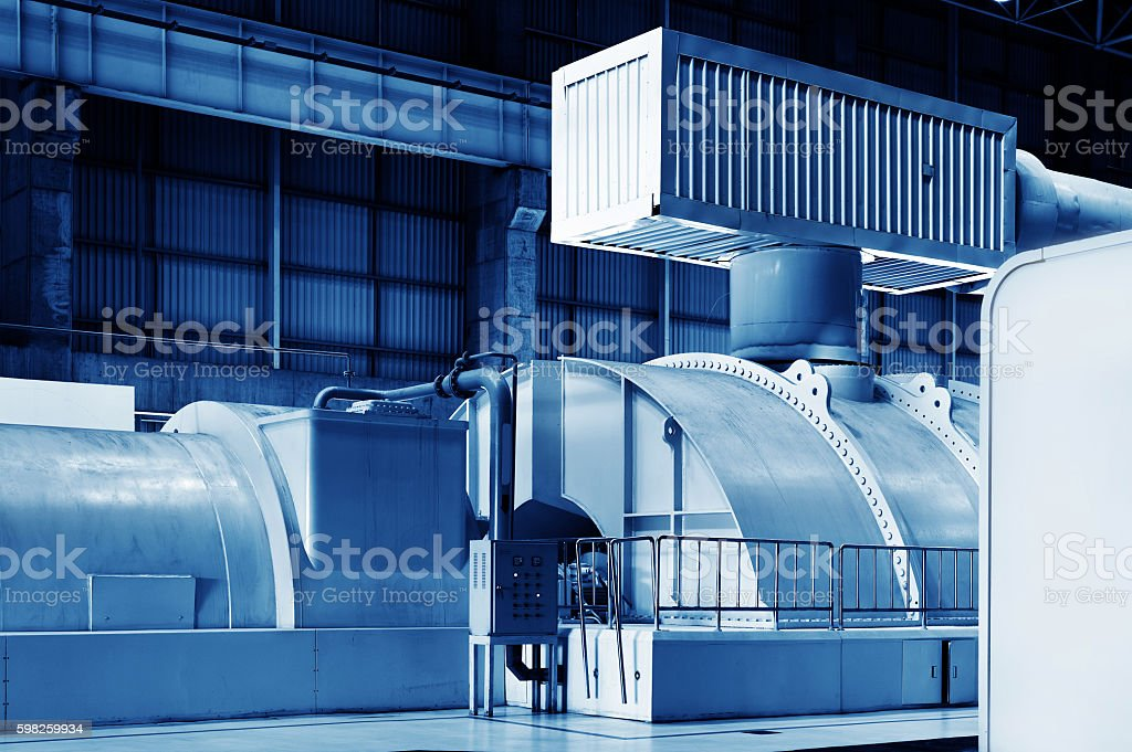 Thermal power plant piping and instrumentation, modern factory machinery. stock photo