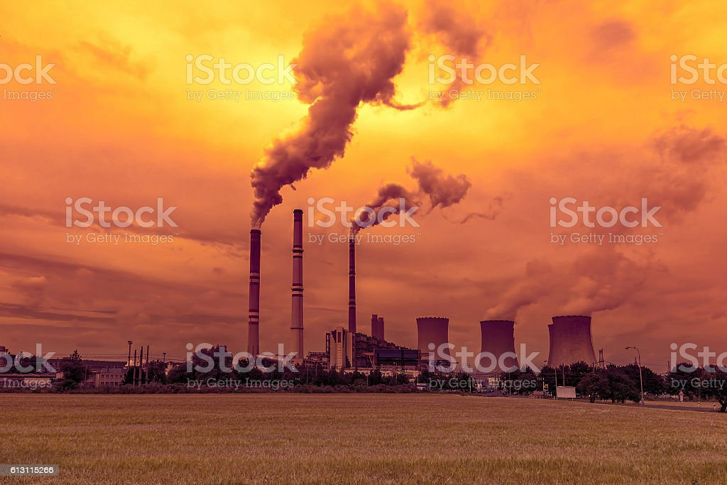 Thermal power plant, sunset sky stock photo