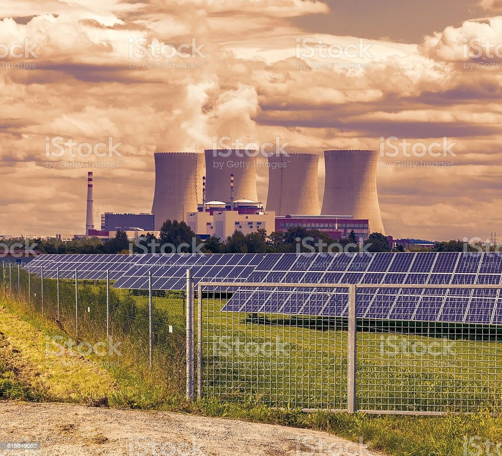 Thermal power plant with solar panels stock photo