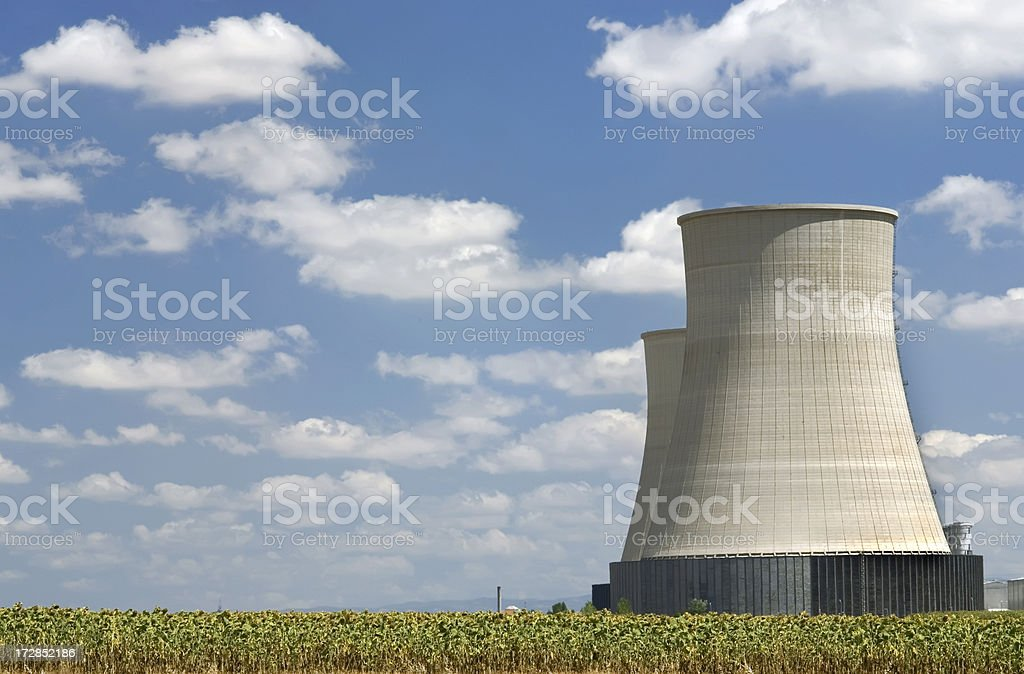 A thermal power station in the middle of a field stock photo