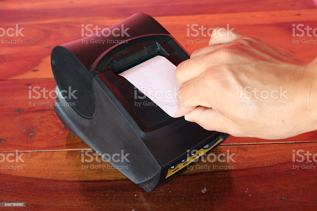 thermal printer for fiscal cash register stock photo