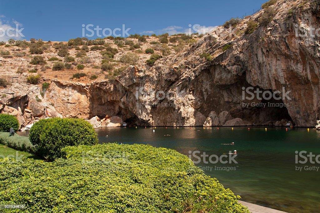Thermal Radonic Mineral Water Lake near Athens, Greece photo. stock photo