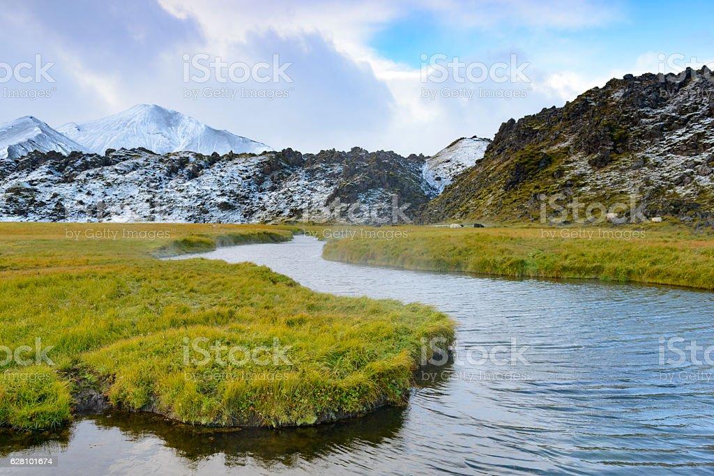 Thermal river in Landmannalaugar, Iceland stock photo