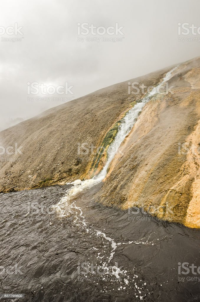 Thermal Spring Runoff to Firehole River stock photo