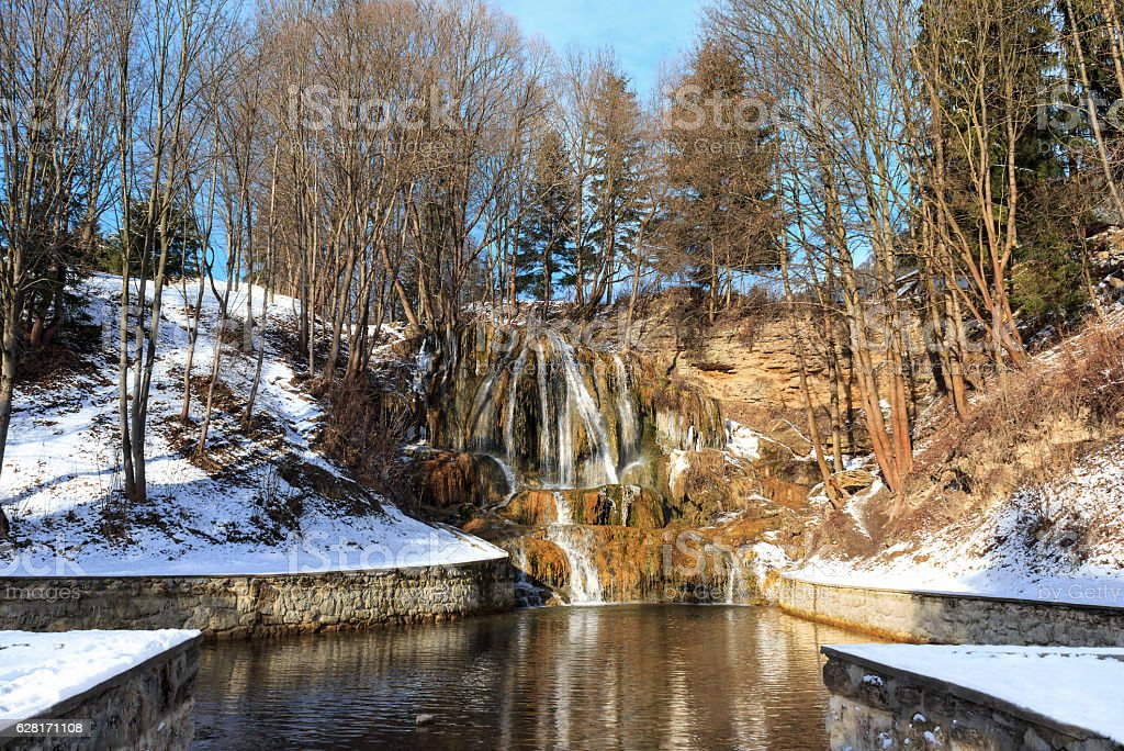 Thermal waterfall in winter - Slovakia stock photo