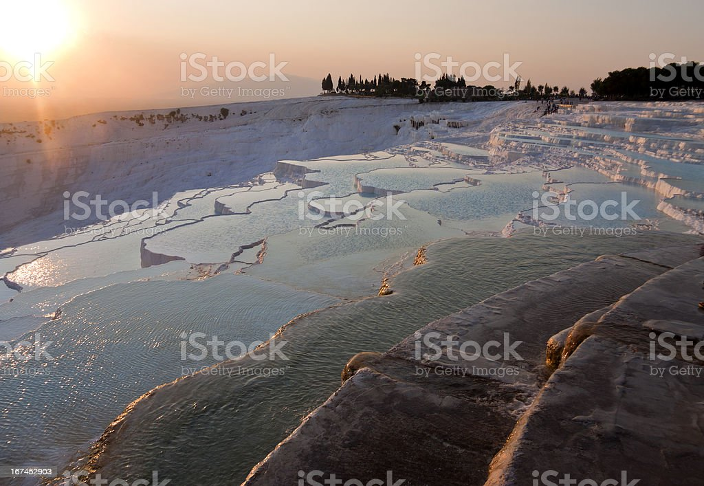 Thermal waters of Pamukkale, Turkey under the bright sun royalty-free stock photo