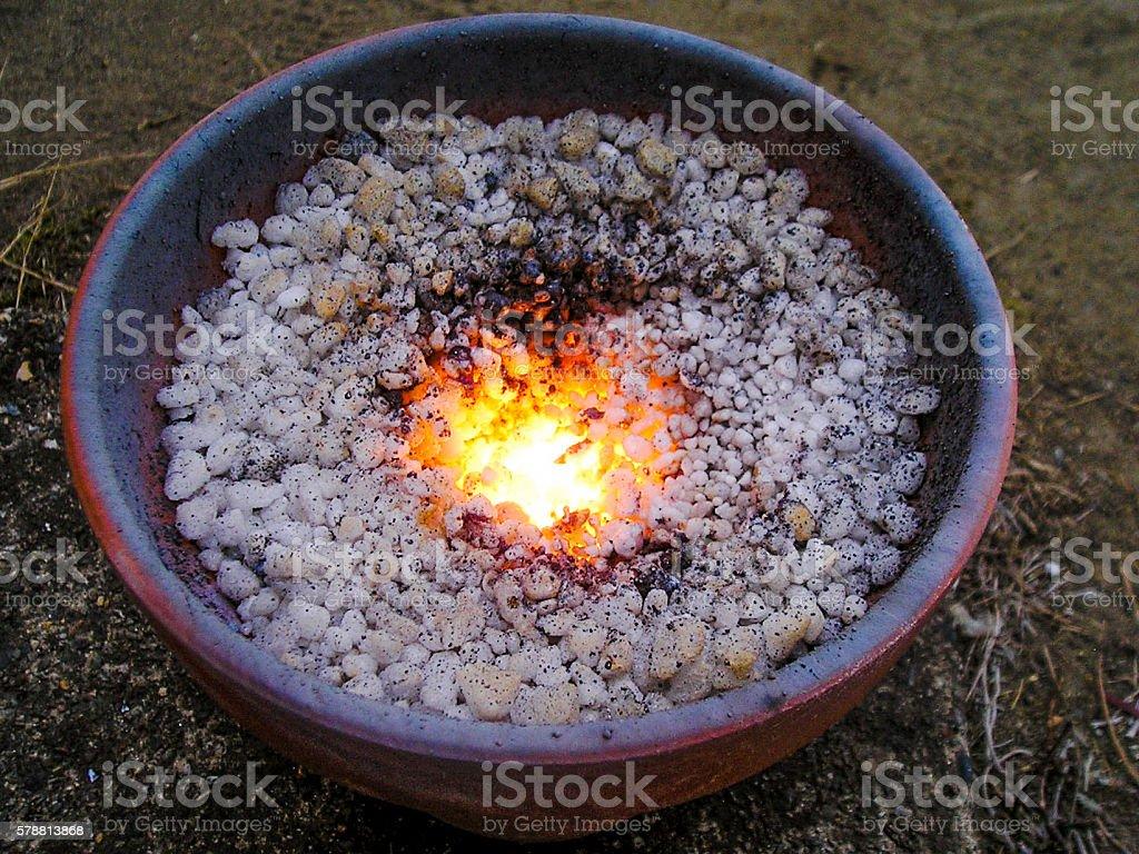 Thermite reaction stock photo