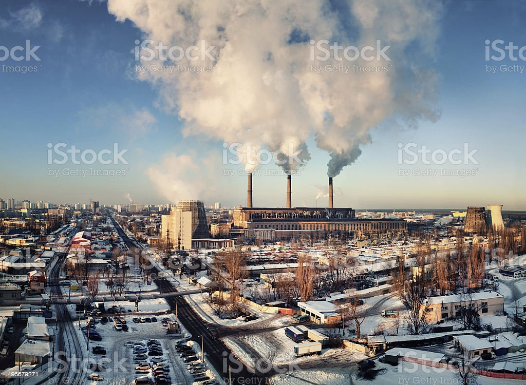 thermoelectric power station with smoking pipes stock photo