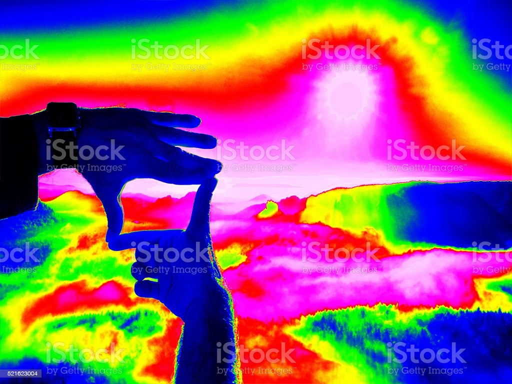 Thermography measurement, changed colors of ultra violet light stock photo