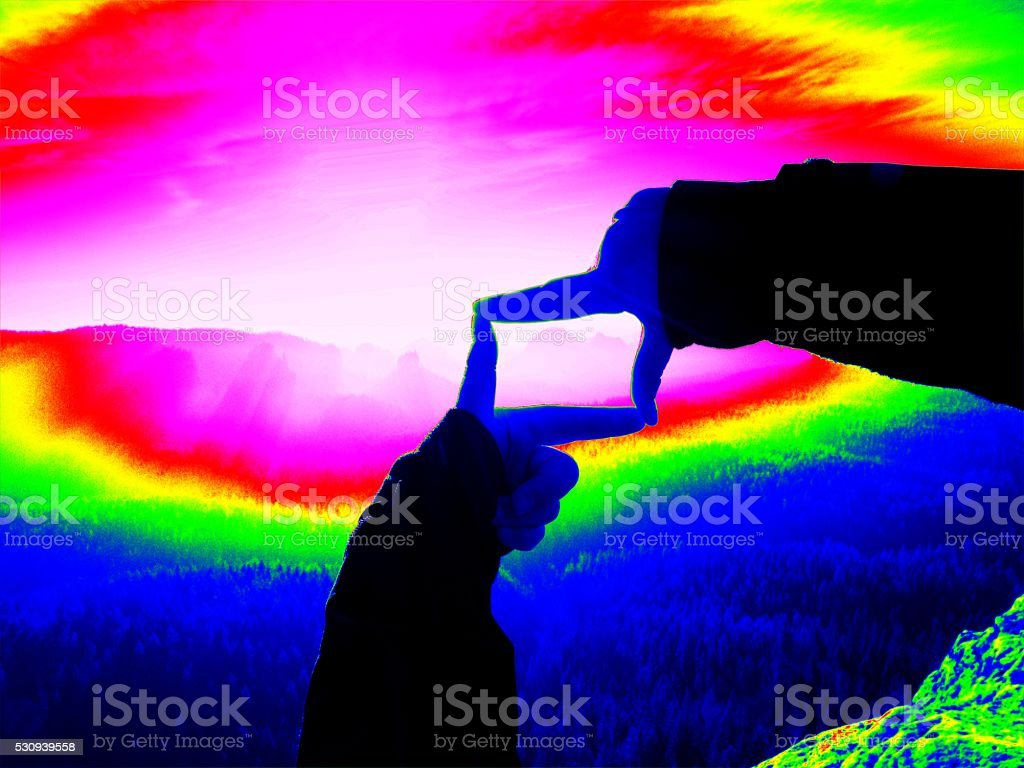 Thermography measurement, changed colors of ultra violet light. stock photo