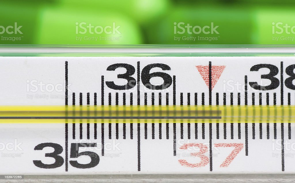 Thermometer and pills royalty-free stock photo