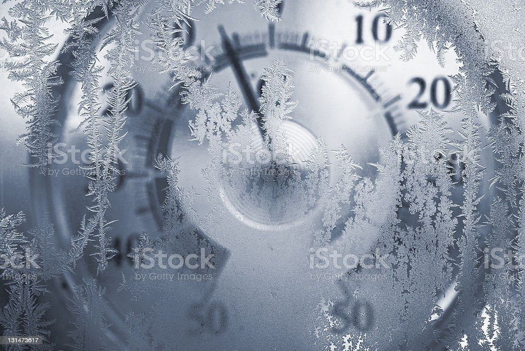 Thermometer behind a freezing window stock photo