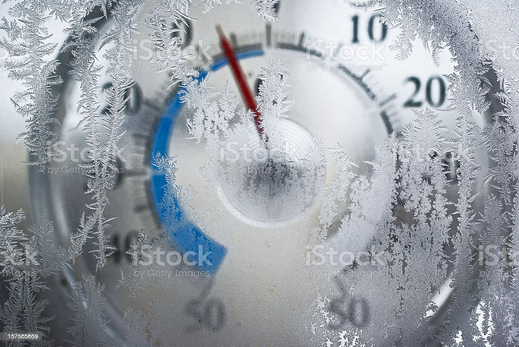 thermometer behind the frozen window stock photo