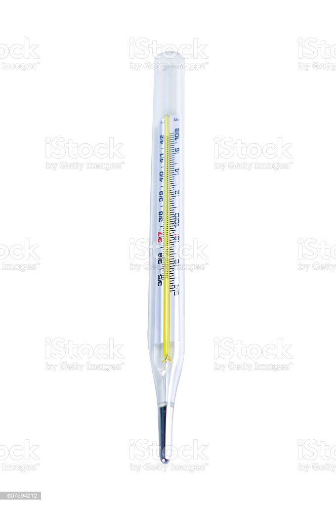 Thermometer close up on white stock photo