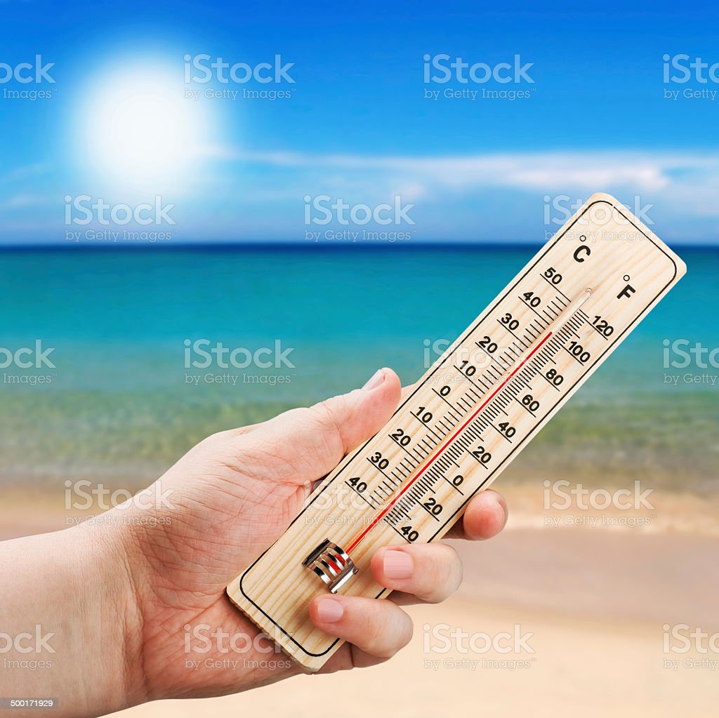 Thermometer in hand shows the intense heat stock photo