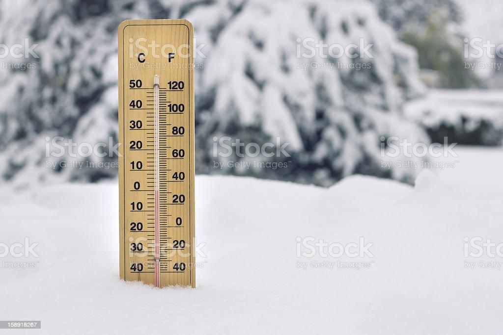thermometer in snow, zero degree Celsius and 32 degrees Fahrenheit stock photo