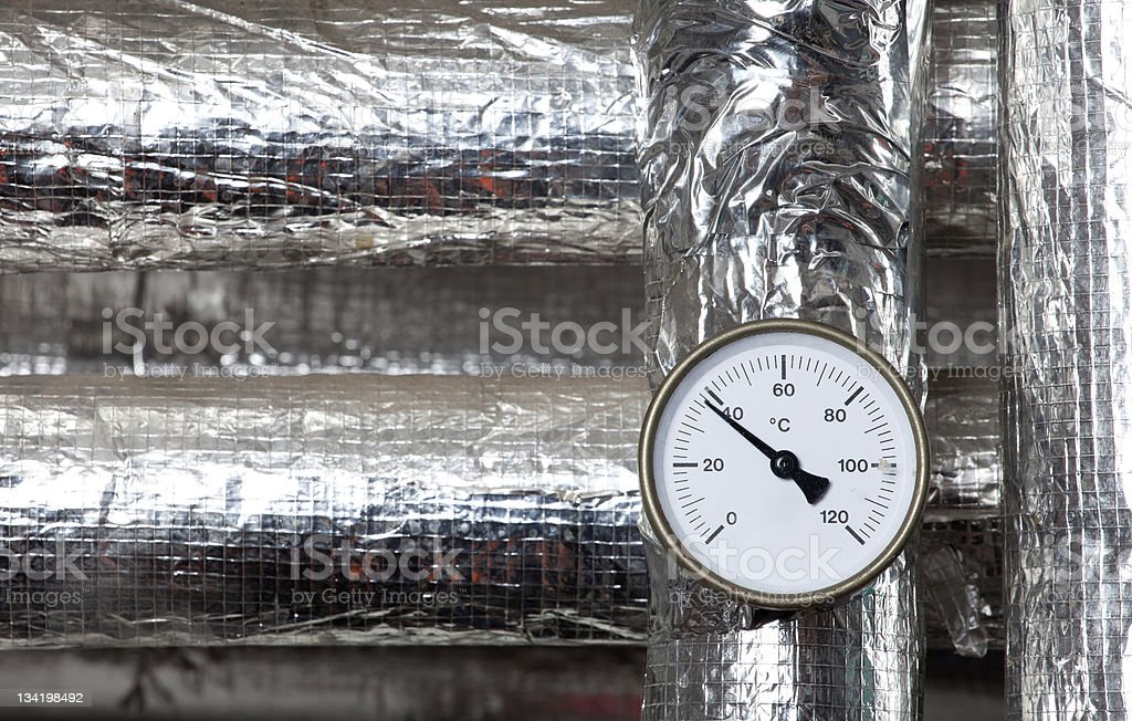 thermometer isolated pipes royalty-free stock photo