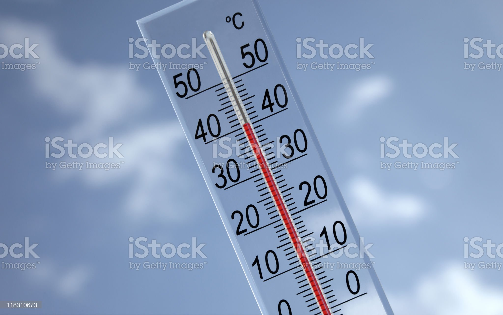 Thermometer on sky background 40?c royalty-free stock photo