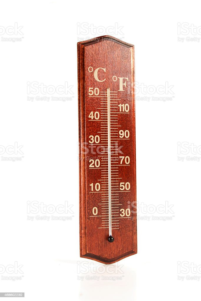 Thermometer on white background - close-up stock photo