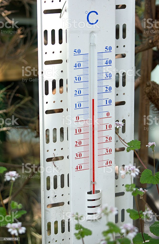 Thermometer showing spring temperature stock photo