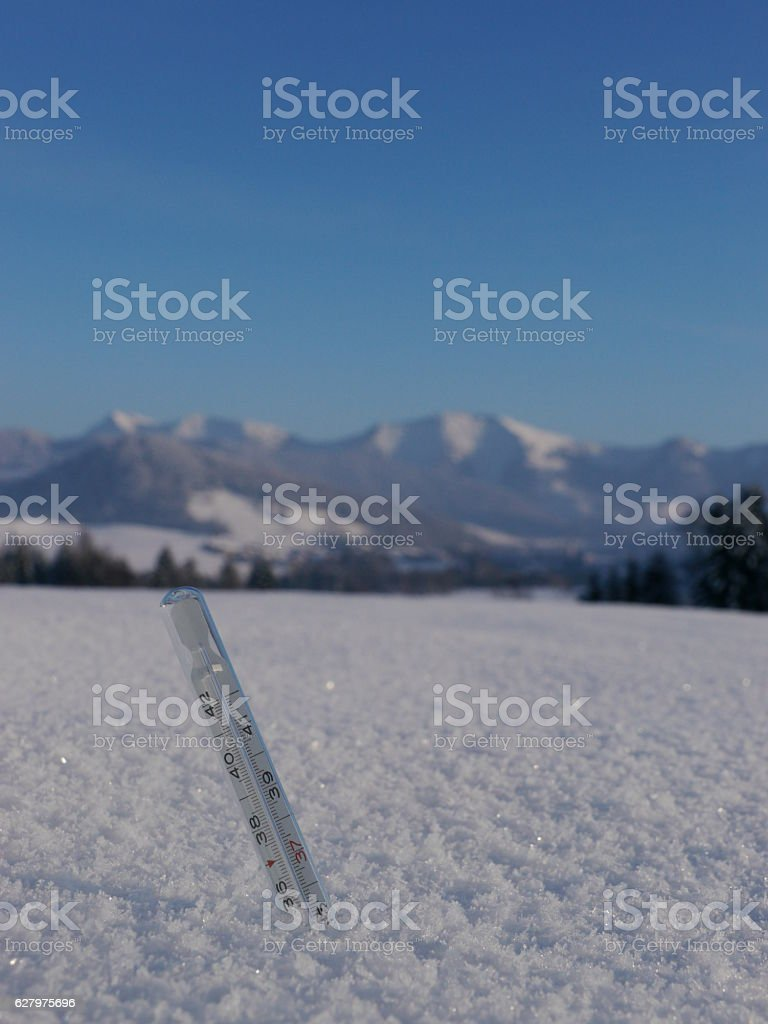 thermometer snow stock photo