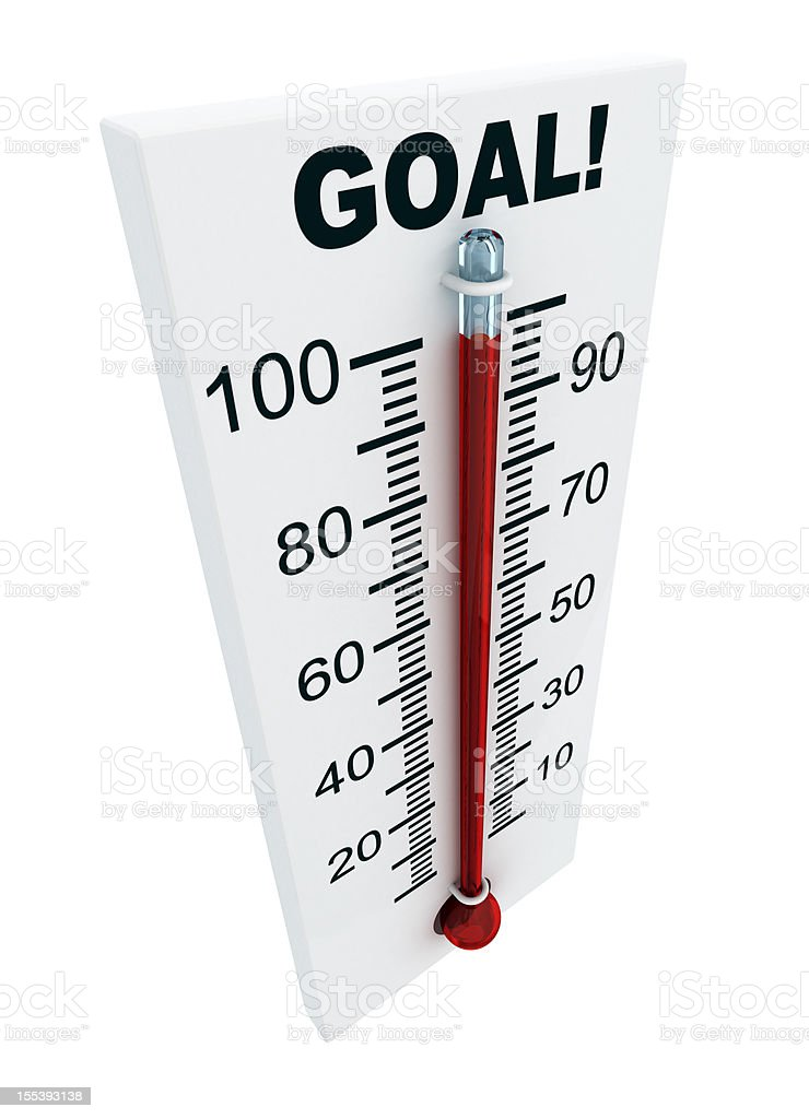 Thermometer with 100 degrees that says GOAL  stock photo