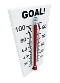 Thermometer with 100 degrees that says GOAL