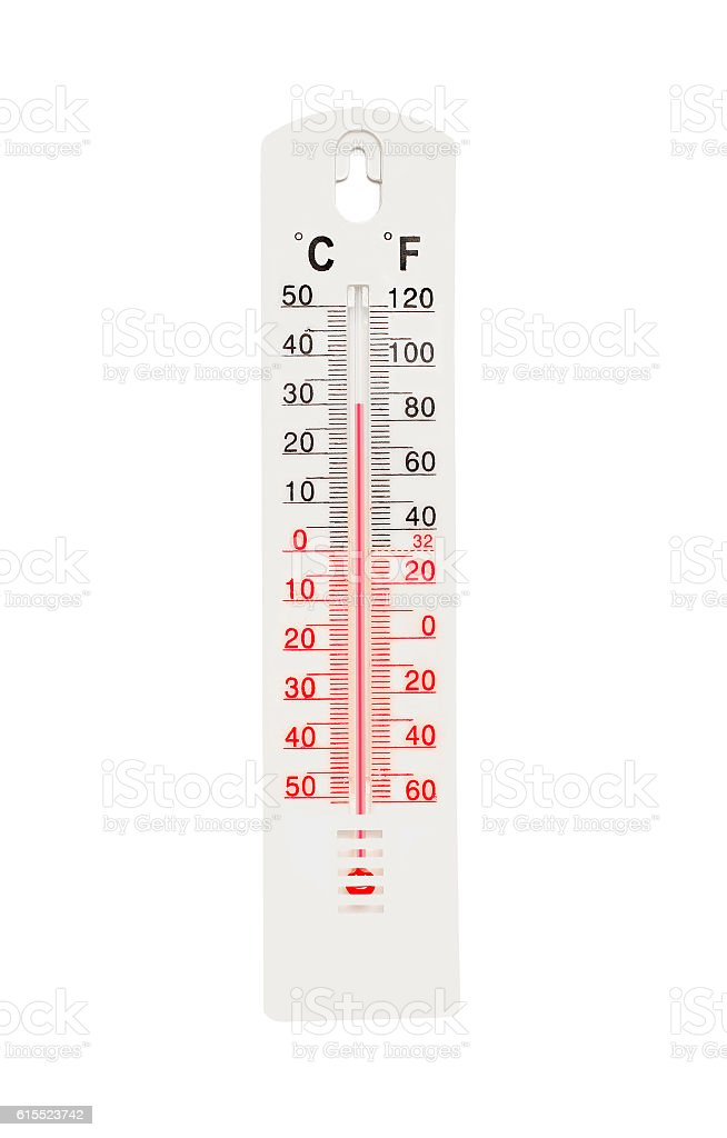 Thermometer with high temperature isolated on white background stock photo