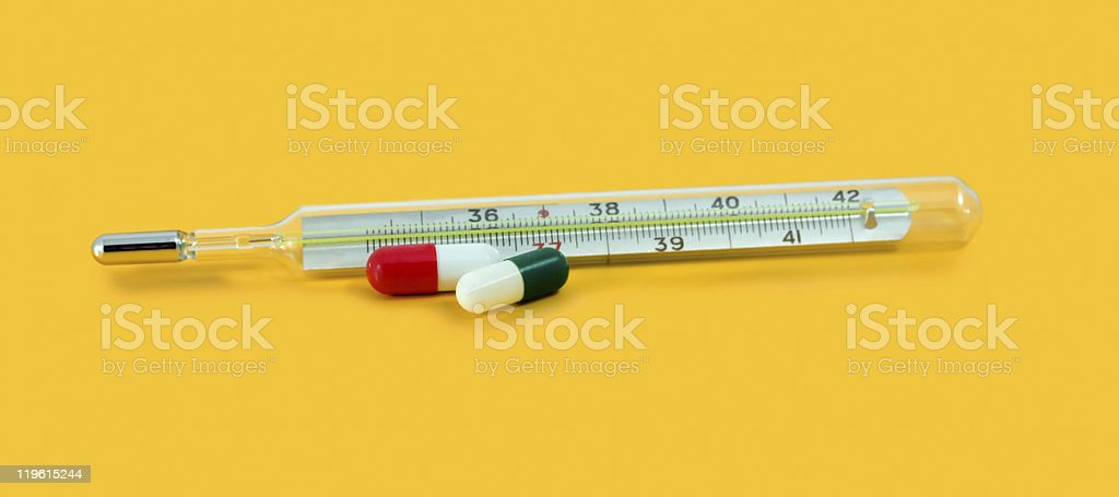 thermometer with pill royalty-free stock photo