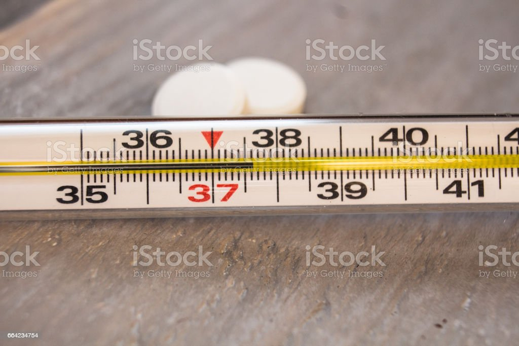 thermometer with temperature in Celsius stock photo