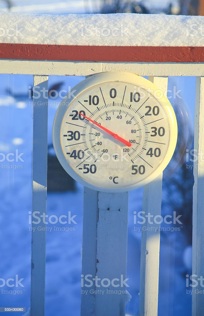-20C,  Thermometer, Yellowkninfe, NT., Canada stock photo