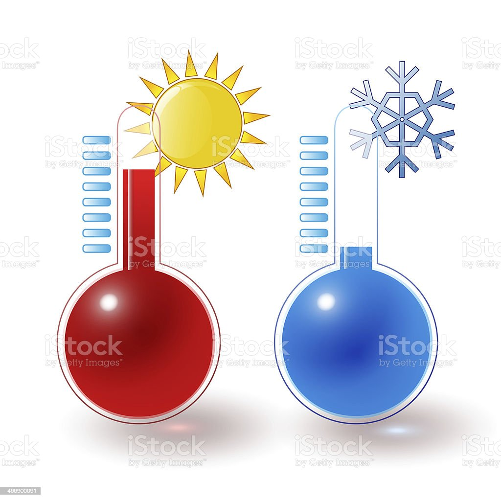 thermometers hot cold set stock photo