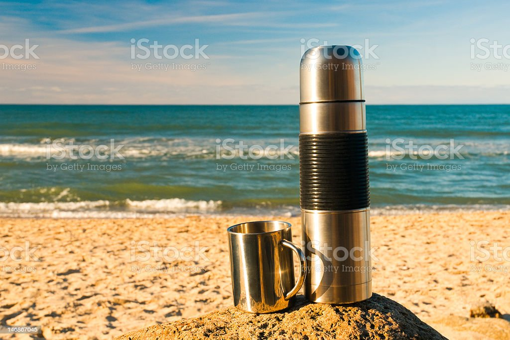 Thermos and metal cup royalty-free stock photo
