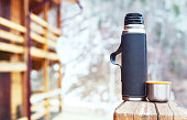 thermos and thermo cup outdoors