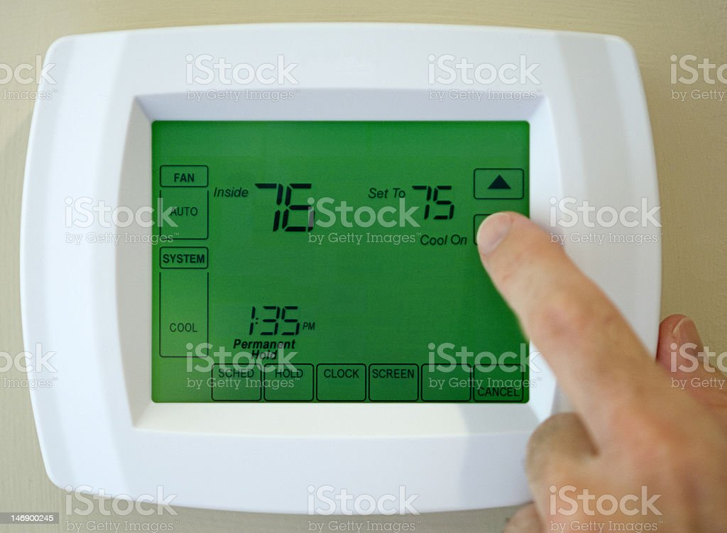 thermostat air conditioner stock photo