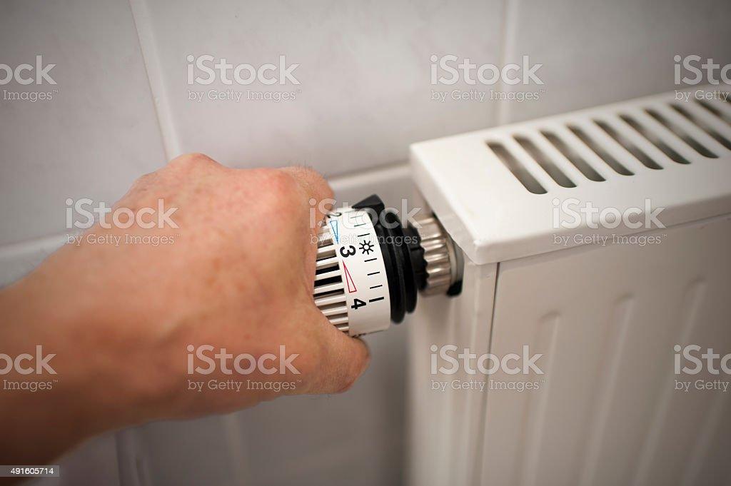 Thermostat - Bathroom - Heating stock photo