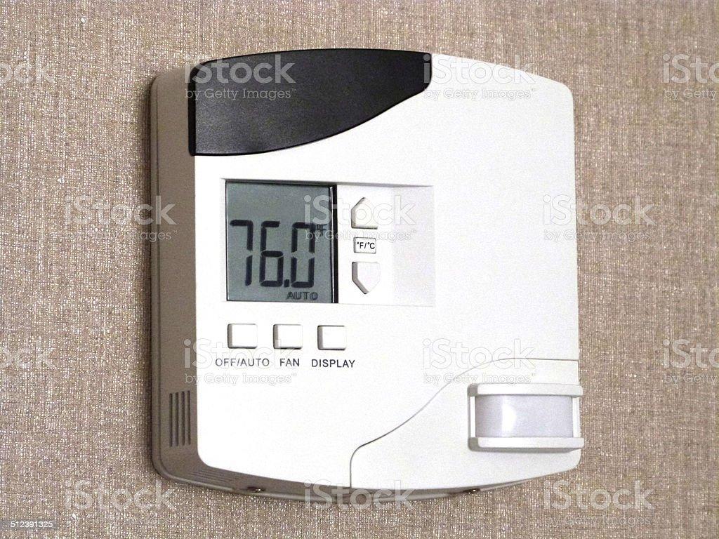 Thermostat Control Panel stock photo