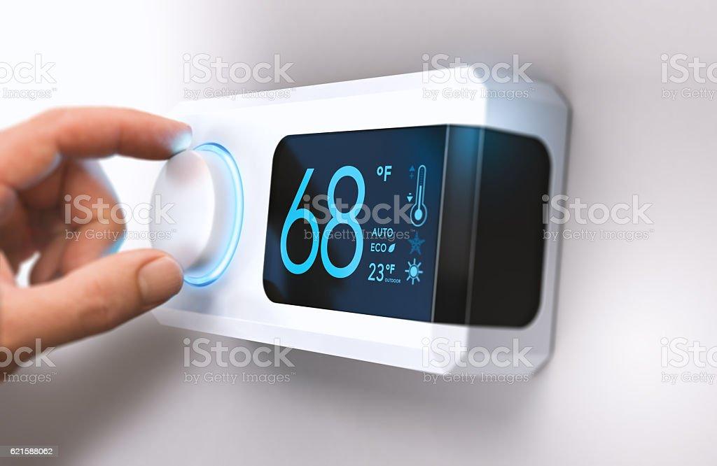 Thermostat, Home Energy Saving stock photo