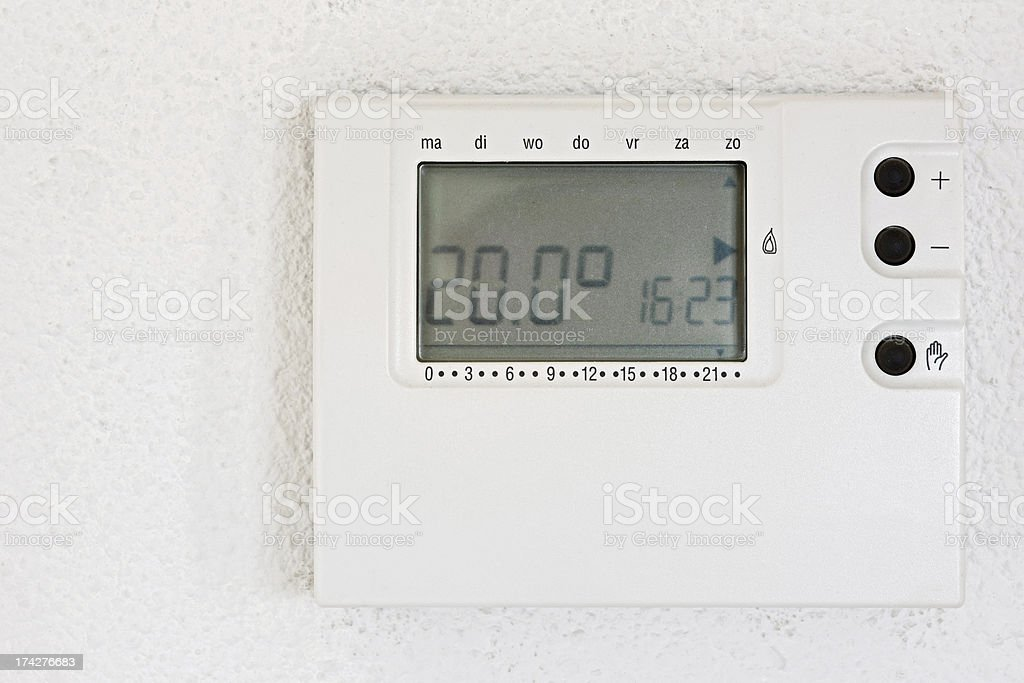 Thermostat on wall royalty-free stock photo