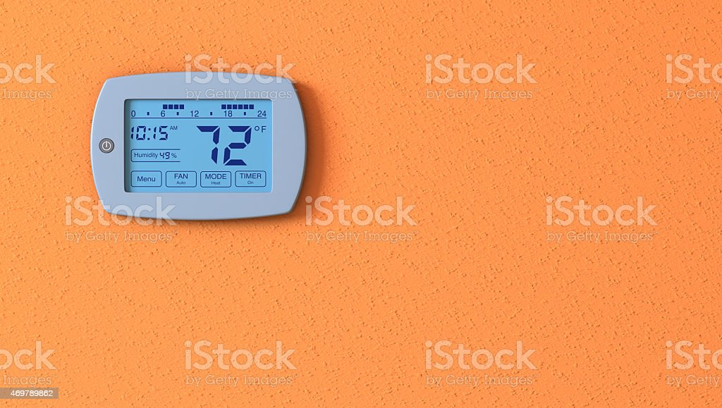 thermostat panel stock photo