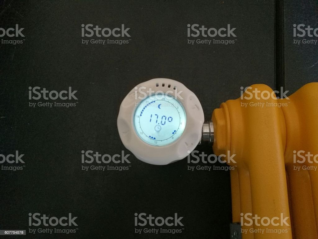 thermostatic valve for energy savings stock photo