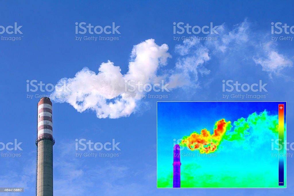 Thermovision image heating chimney stock photo