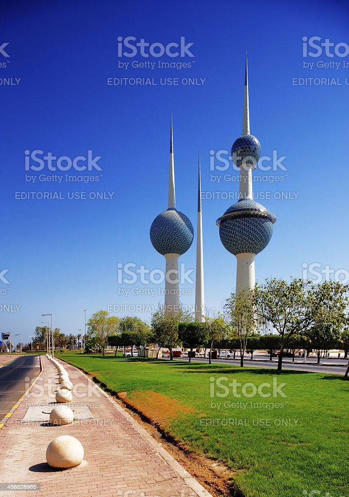 These architectural structures are icons of the Kuwait City stock photo