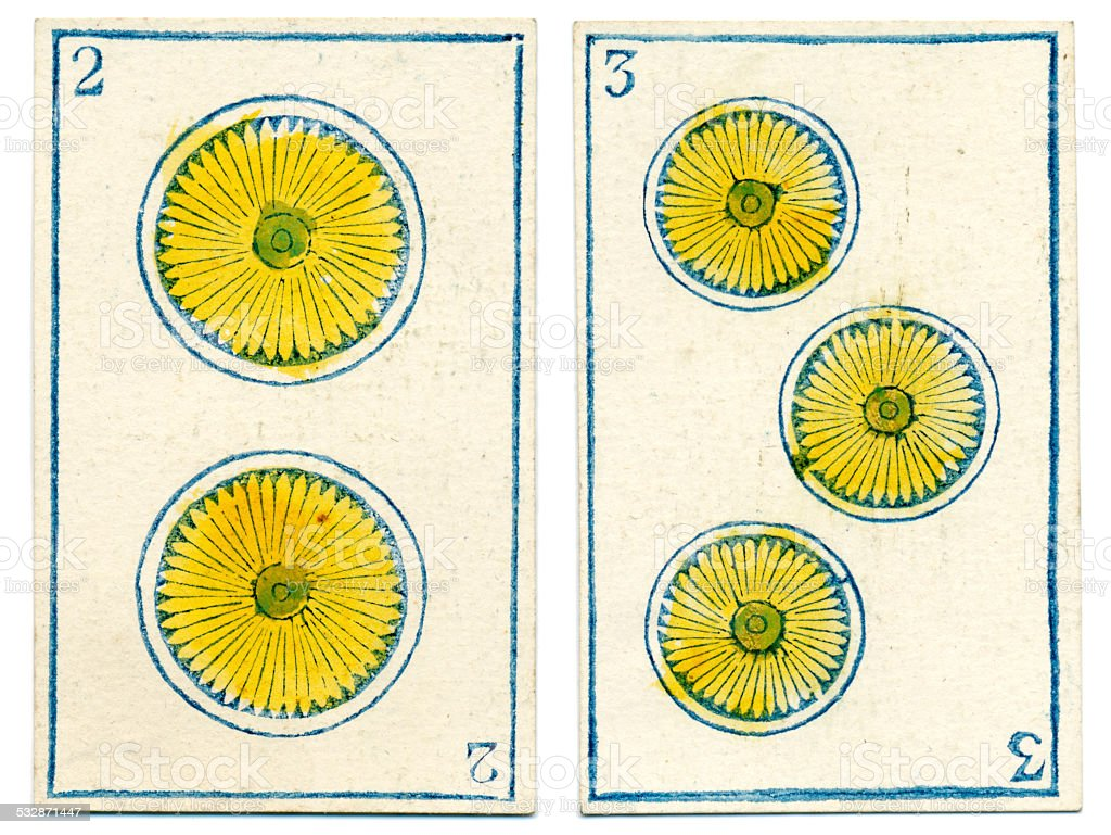 Mexico playing cards baraja 1846 two three coins Oros vector art illustration