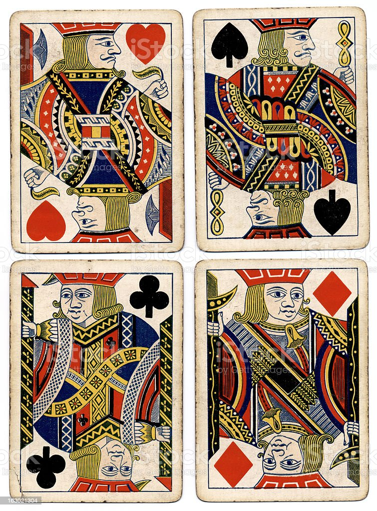 Antique playing cards four jacks spades hearts diamonds clubs stock photo