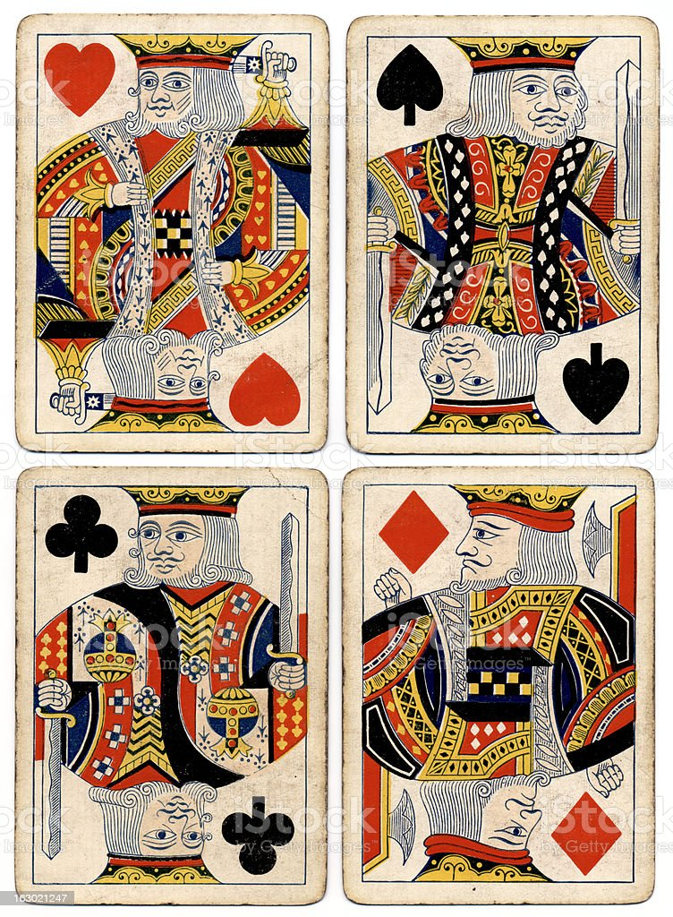 Antique playing cards four kings spades hearts diamonds clubs stock photo