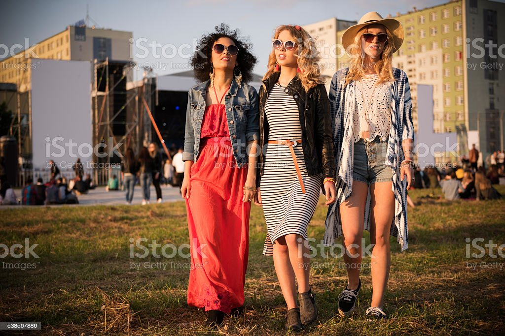 These girl runs this festival stock photo