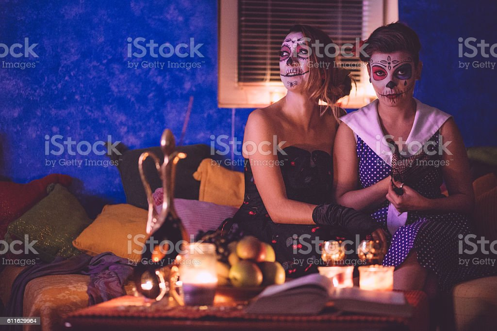These girls are ready for the ritual stock photo